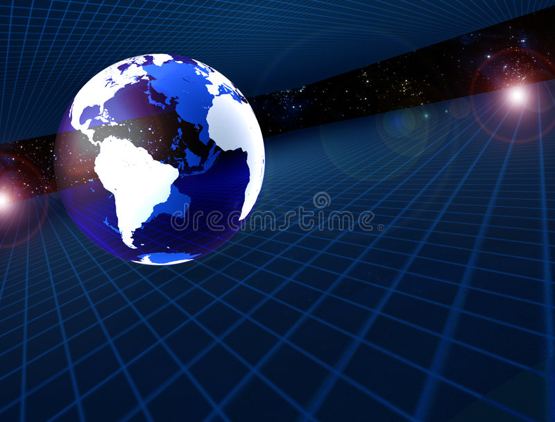 Transparent earth. And grids in space stock illustration