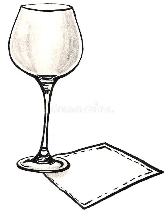 Transparent empty glass on a napkin vector illustration