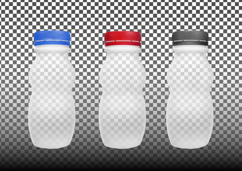 Transparent empty plastic bottle for yogurt. Packaging for sour cream, sauce and snack royalty free illustration