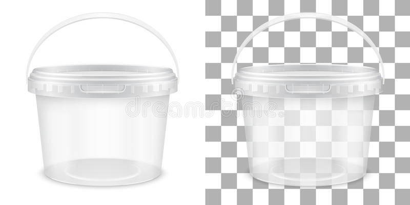 Transparent empty plastic bucket for storage of food or non-food products. Vector packaging template illustration. Transparent empty plastic bucket for storage vector illustration