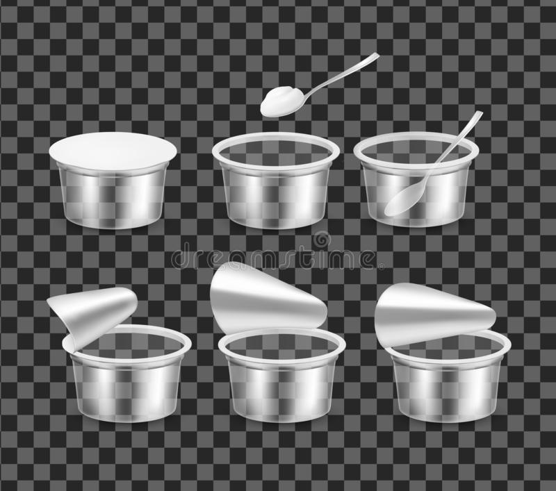 Transparent empty plastic container for yogurt. Open packaging for sour cream stock illustration