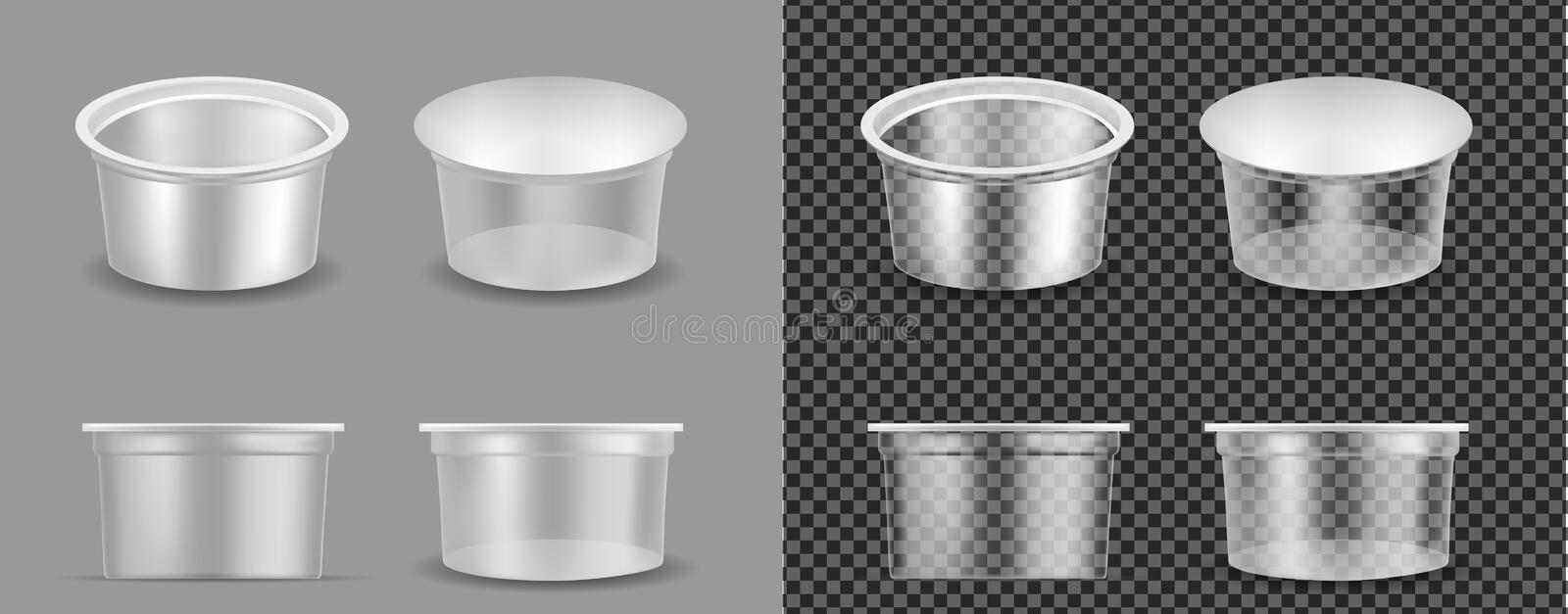 Transparent empty plastic container for yogurt. Packaging for sour cream and sauce royalty free illustration