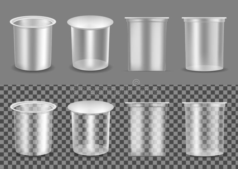 Transparent empty plastic container for yogurt. Packaging for sour cream and sauce vector illustration