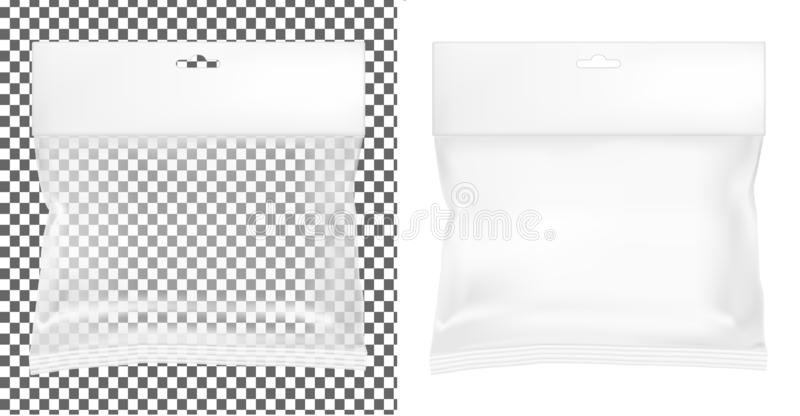 Transparent empty plastic packaging. Blank sachet with hang slot stock illustration
