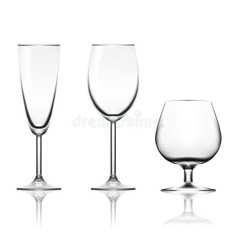 Transparent Empty Wine, Champagne And Cognac Glass Isolated On White royalty free stock photography
