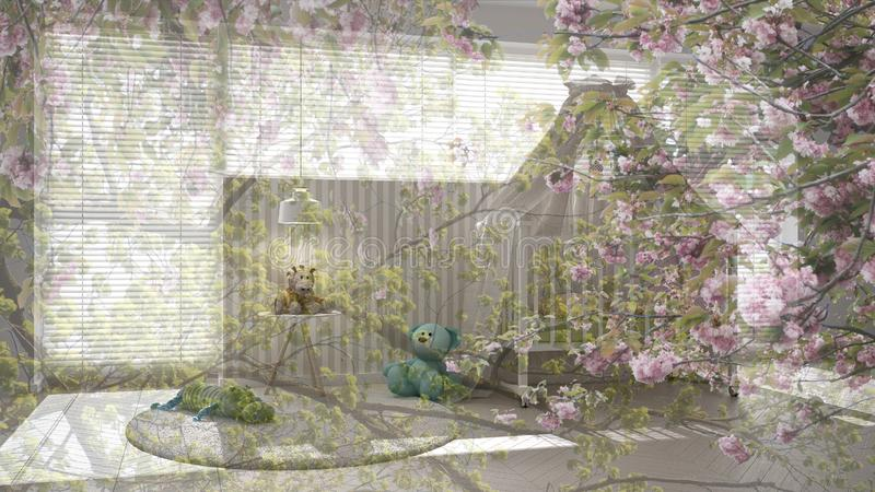 Transparent floral background, over white child bedroom with canopy crib, minimal concept interior. Design royalty free stock image