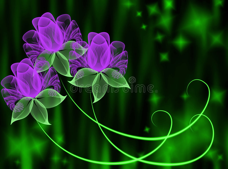 Transparent flowers vector illustration