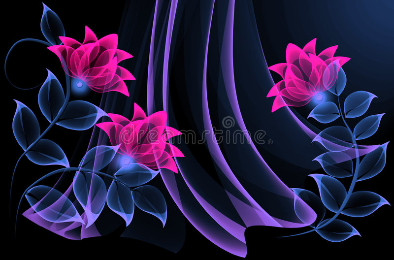 Transparent flowers royalty free illustration