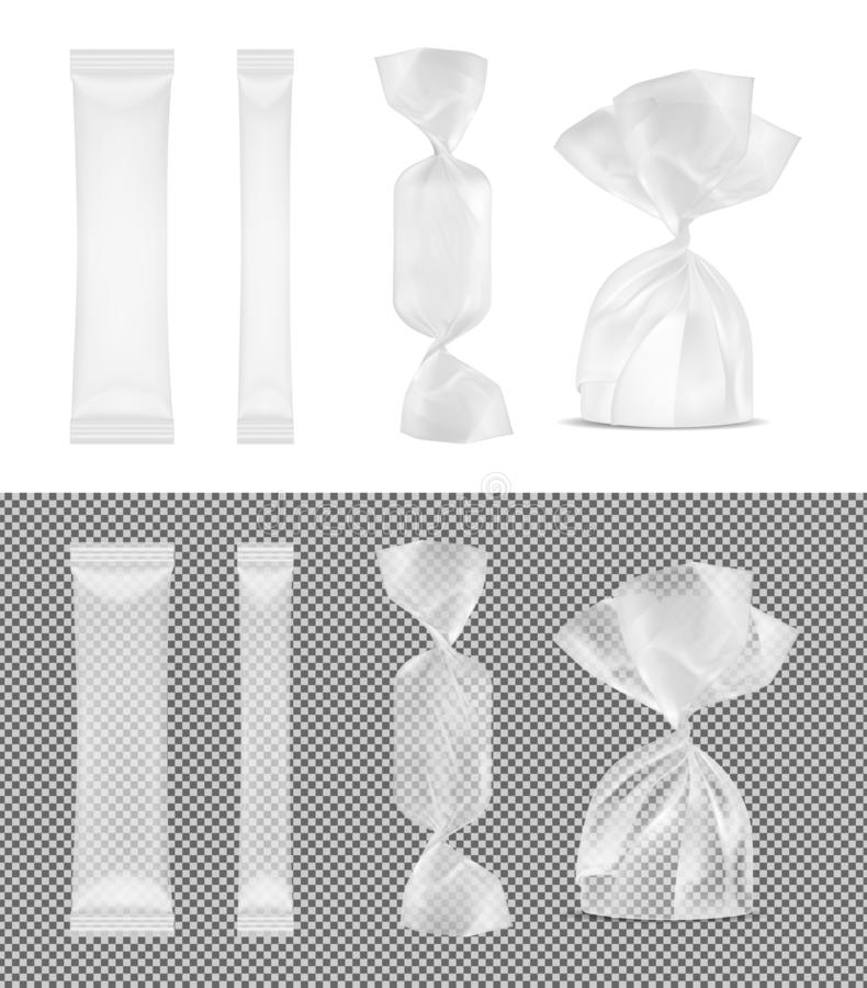 Transparent foil food snack pack for candy and other products. Disposable packaging for sugar and spices. Sachets for medicines. Transparent foil food snack pack vector illustration