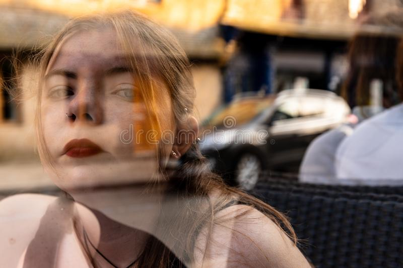 Transparent girl Surrealist scene  double exposure stock image