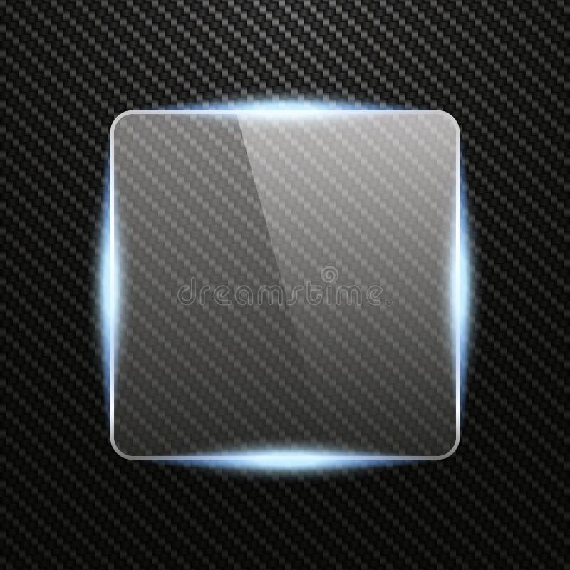 Transparent glass banner with light effect on Carbon background vector illustration