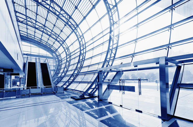 Transparent glass ceiling. Modern architectural interior royalty free stock image