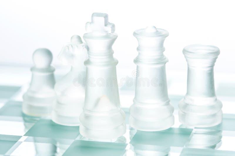Transparent glass chess stock image