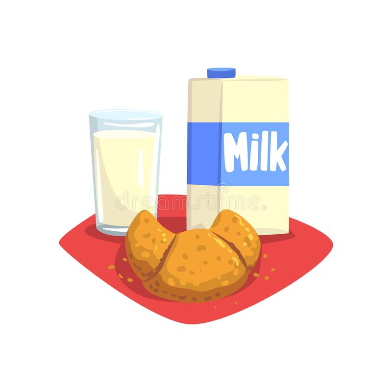 Transparent glass of fresh milk and sweet croissant on red table-napkin. Healthy and delicious breakfast. Food and drink royalty free illustration
