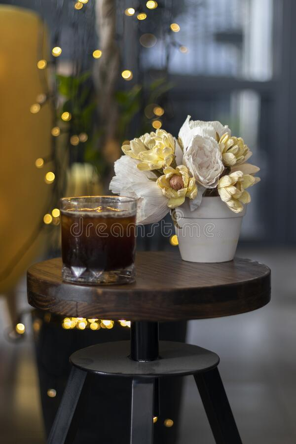 Transparent Glass Of Iced Black Coffee Or Americano On ...