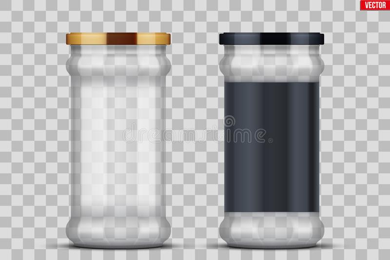 Transparent Glass Jars for canning and preserving. Set of Transparent Glass Jars with label for canning and preserving. Metal cover lid. Homemade kitchen royalty free illustration