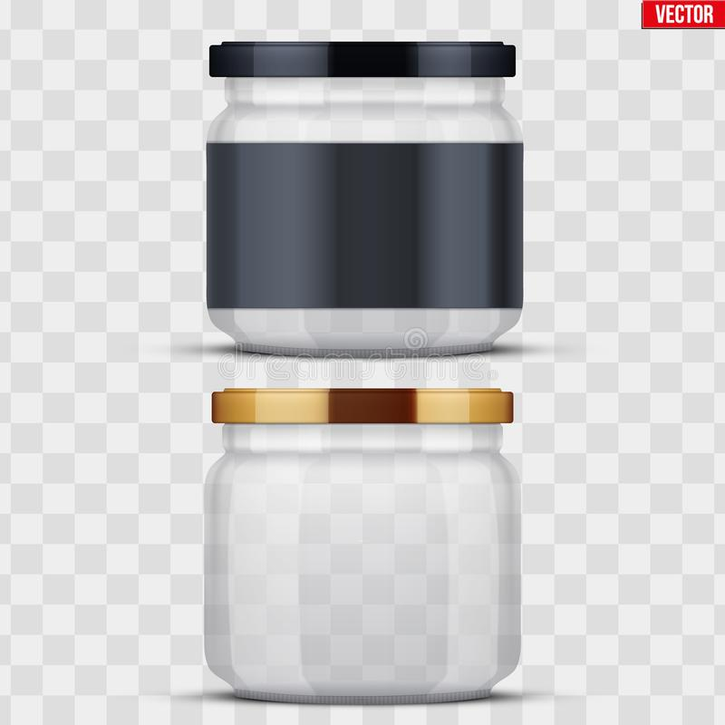 Transparent Glass Jars for canning and preserving. Set of Transparent Glass Jars with label for canning and preserving. Metal cover lid. Homemade kitchen vector illustration