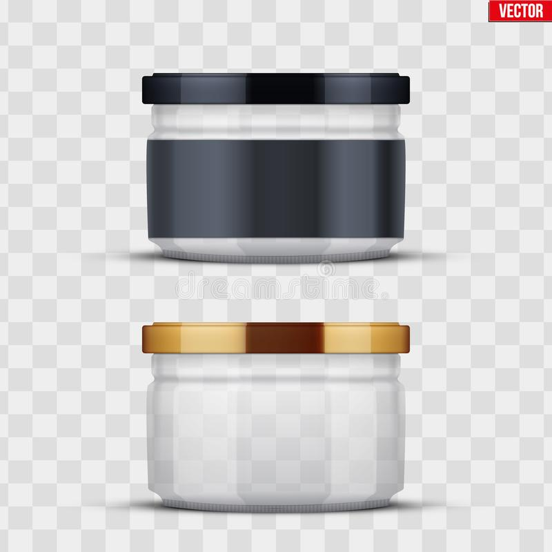 Transparent Glass Jars for canning and preserving. Set of Transparent Glass Jars with label for canning and preserving. Metal cover lid. Homemade kitchen stock illustration