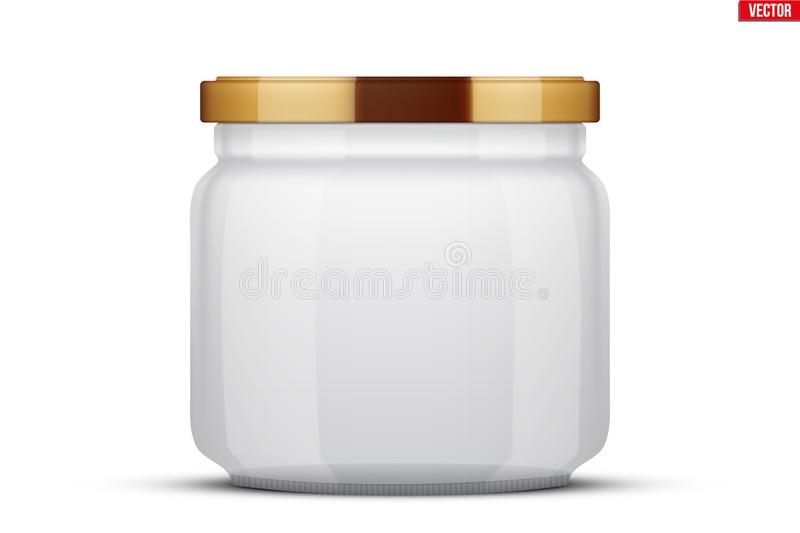 Transparent Glass Jars for canning and preserving. With cover lid. Homemade kitchen conservation fruits and vegetables. Vector Illustration isolated on white vector illustration