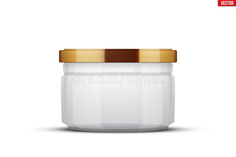 Transparent Glass Jars for canning and preserving. With cover lid. Homemade kitchen conservation fruits and vegetables. Vector Illustration isolated on white royalty free illustration