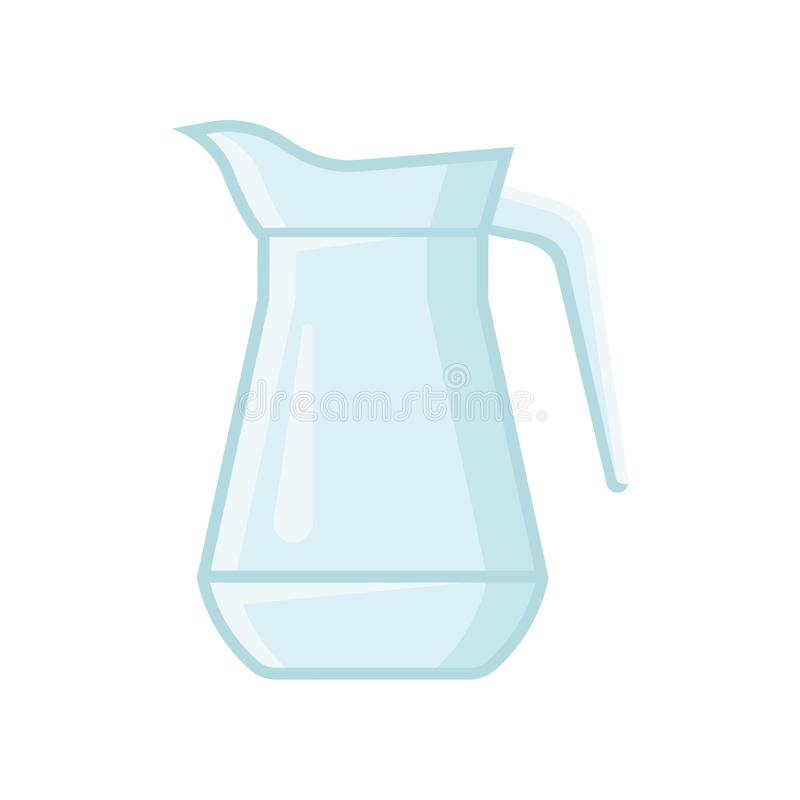 Transparent glass jug for water or juice. Vessel with one handle. Flat vector element for banner or poster. Transparent glass jug for water or juice. Cartoon stock illustration