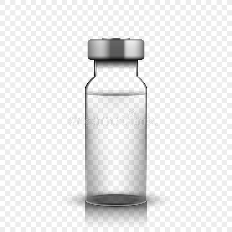 Transparent glass medical vial, vector illustration. On simple background stock illustration