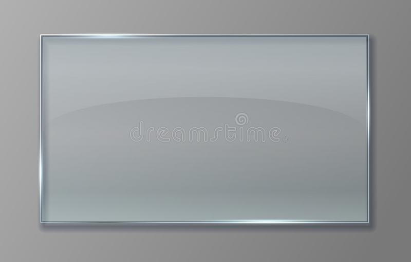 Transparent glass panel. Clear plastic sheet with glossy effect, isolated acrylic banner plate. Vector transparent sign. Transparent glass panel. Clear plastic vector illustration
