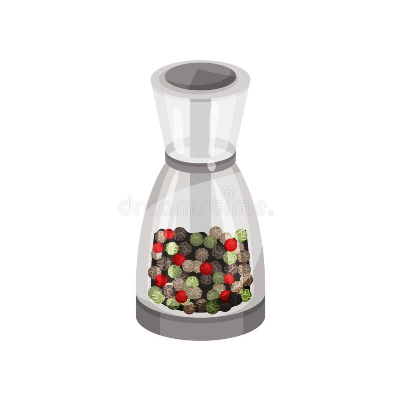 Glass pepper mill filled pepper peas. Spicy condiment. Fragrant seasoning for food. Kitchen item. Flat vector icon. Transparent glass pepper mill filled pepper vector illustration