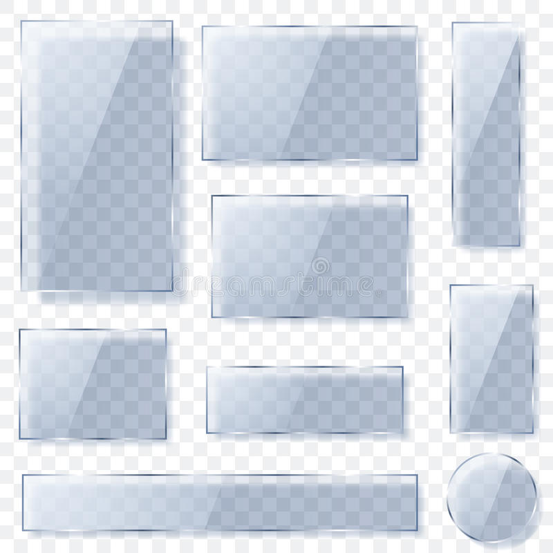 Transparent glass plates in light blue colors. Set of transparent glass plates of different shapes in light blue colors with shadows. Transparency only in vector royalty free illustration