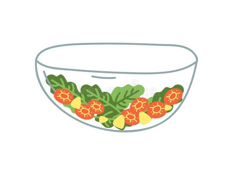 Transparent Glass Salad Bowl of Fresh Vegetables, Zero Waste Reusable Object, Eco lifestyle Concept Vector Illustration. On White Background vector illustration