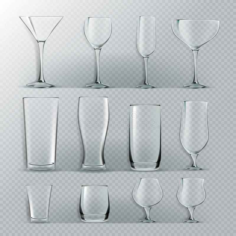Free Transparent Glass Set Vector. Transparent Empty Glasses Goblets For Water, Alcohol, Juice, Cocktail Drink. Realistic Royalty Free Stock Photos - 131885868
