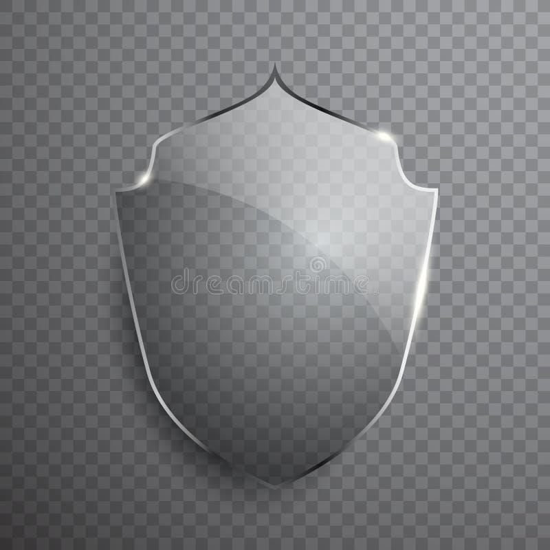 Transparent glass shield sign on simple background. Vector illustration royalty free illustration
