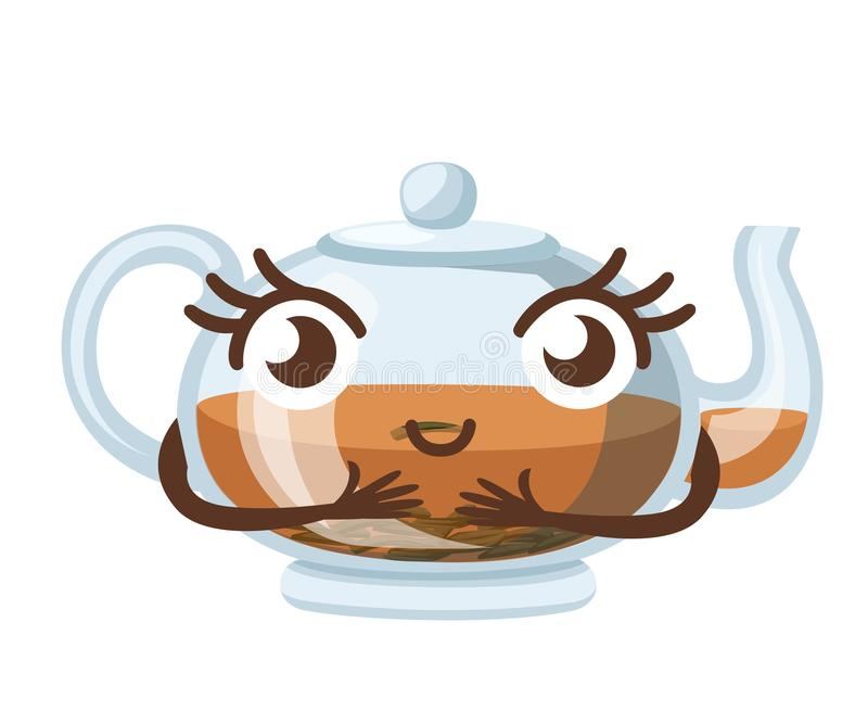 Transparent glass teapot with black tea, mascot. Cartoon character design. Green or black tea for design, advertising and vector illustration