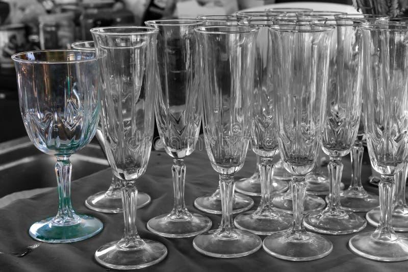 Transparent glass wine glasses long champagne celebration pattern background stock image