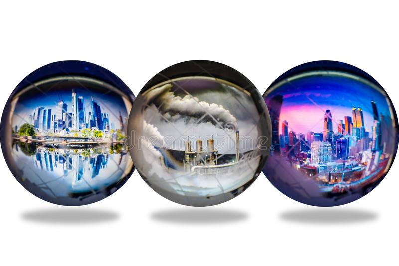 Transparent globes with city and pollution reflect inside, global. Transparent globes with city and polution reflect inside isolated on white background, global stock image