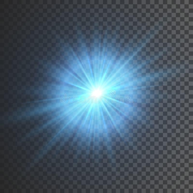 Transparent glow light effect. Star burst with sparkles. Blue glitter. Vector illustration royalty free illustration