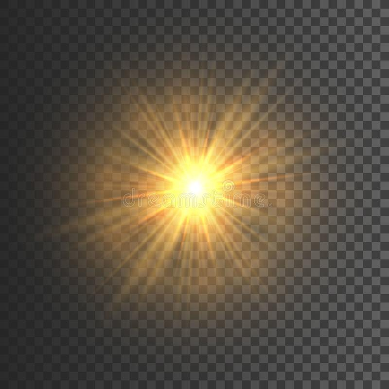 Transparent glow light effect. Star burst with sparkles. Gold glitter. Vector illustration royalty free illustration