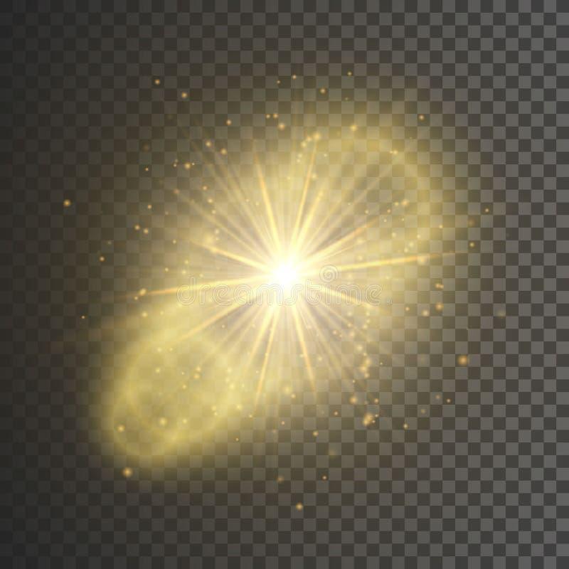 Transparent glow light effect. Star burst with sparkles. Gold glitter. Vector illustration vector illustration