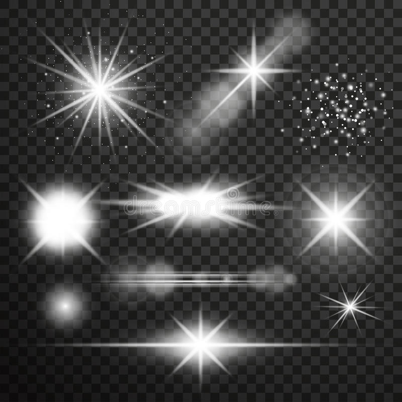 Transparent glow light effect. Star burst with sparkles. royalty free illustration