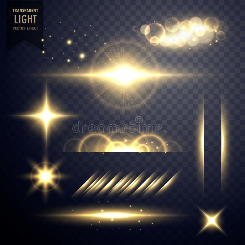 Transparent golden set of lens flares light effect vector stock illustration