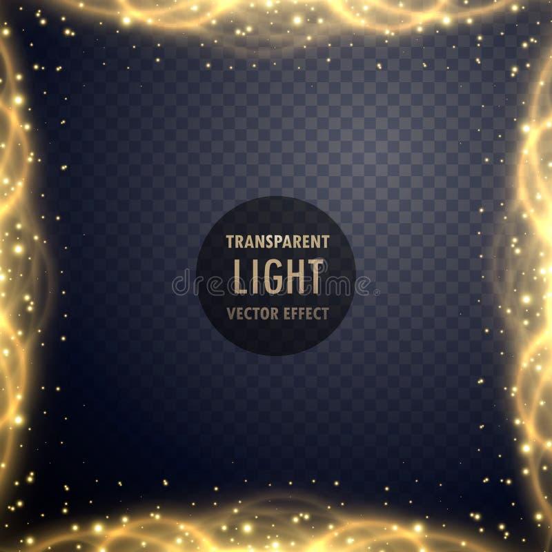 Transparent golden sparkle light effect background vector illustration