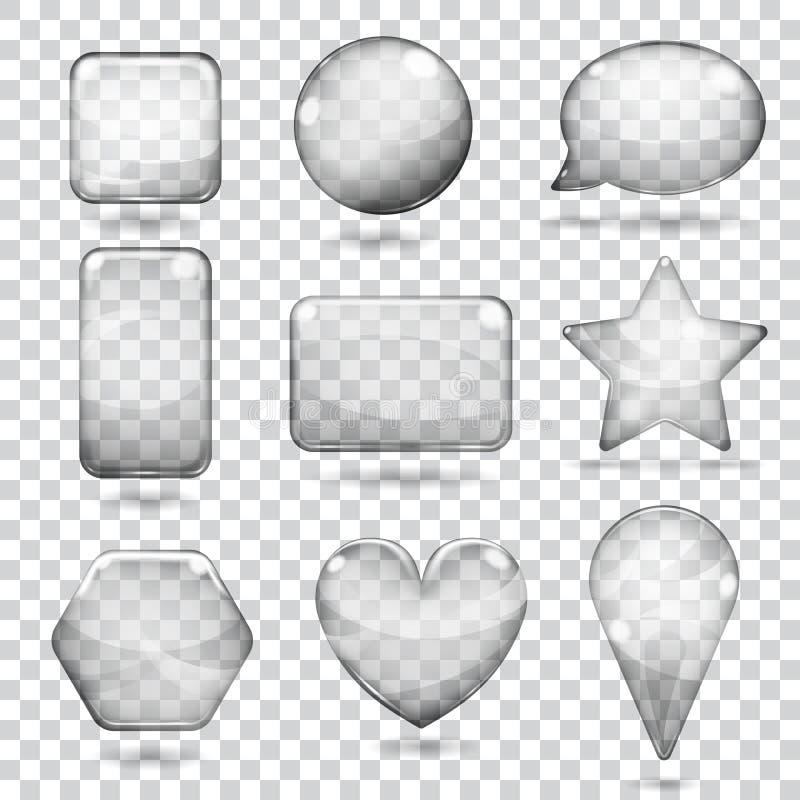 Transparent gray glass shapes stock illustration