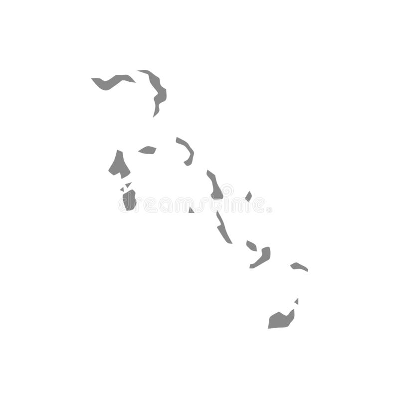 Transparent - high detailed gray map of The Bahamas. Vector illustration eps 10 royalty free illustration