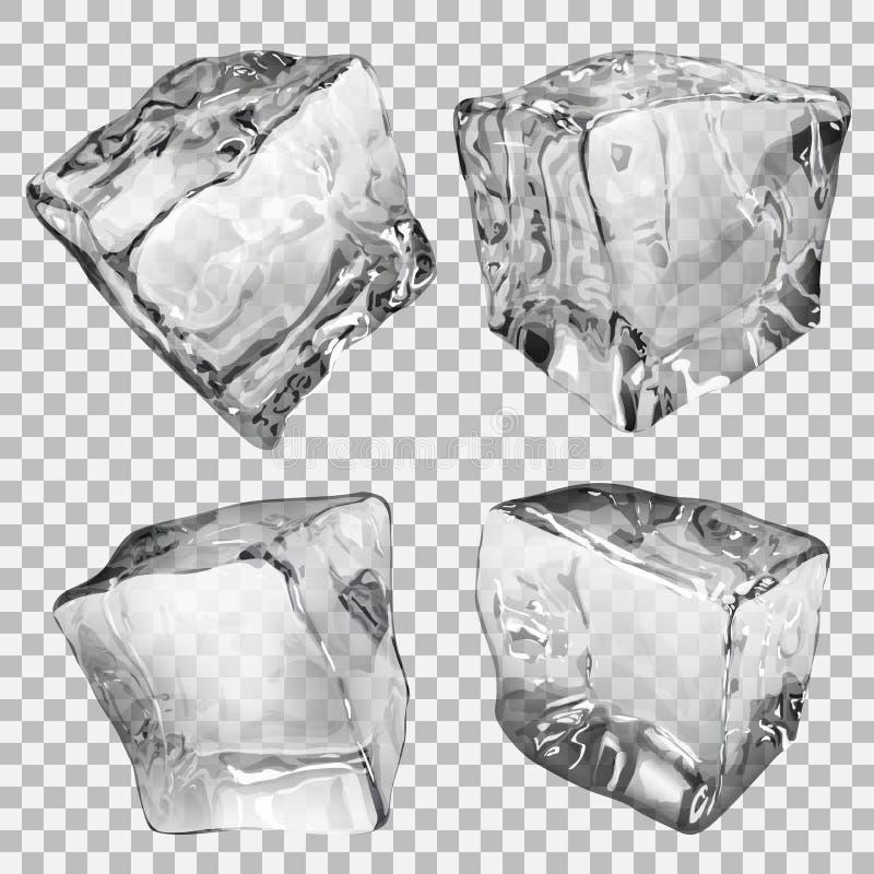 Transparent ice cubes vector illustration