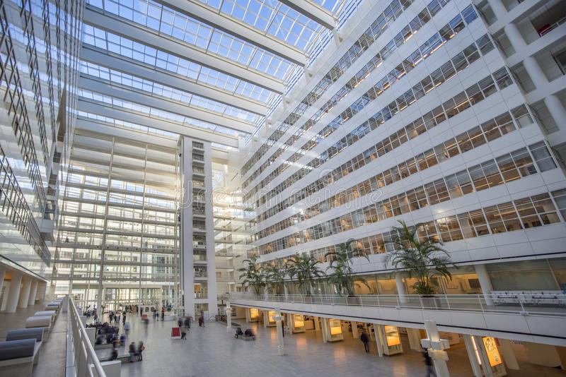 Transparent Ice Palace. Den Haag town hall inner offices, ultra modern building at The Hague, Netherlands royalty free stock photo