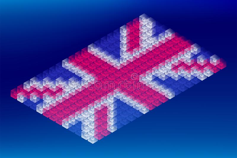 Transparent isométrique de boîte de cube, forme de drapeau national du Royaume-Uni, illustration de conception de l'avant-projet  illustration stock