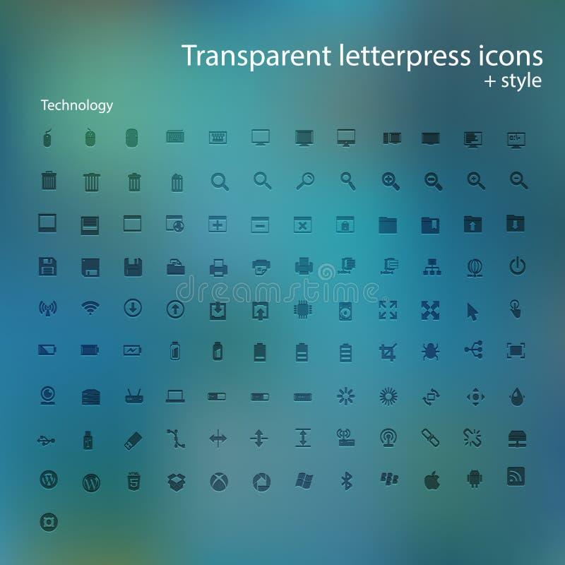 Transparent letterpress icons. Vector computer transparent letterpress icons for using in web design stock illustration
