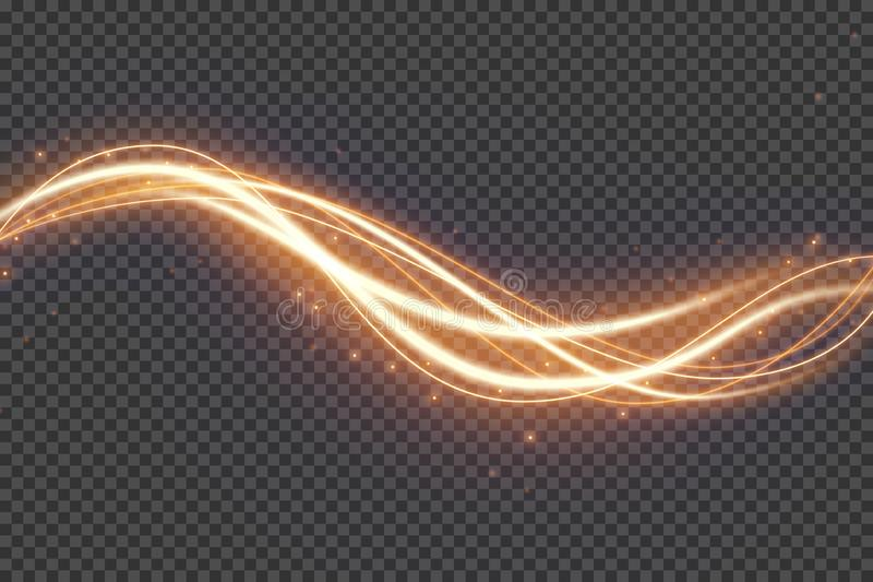 Transparent light effect with curve trail and sparkles. Glowing shiny lines. Abstract light speed motion effect. royalty free illustration