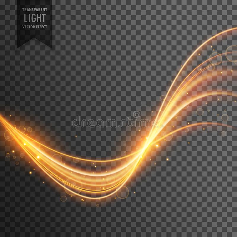 Transparent light effect in gold color vector illustration