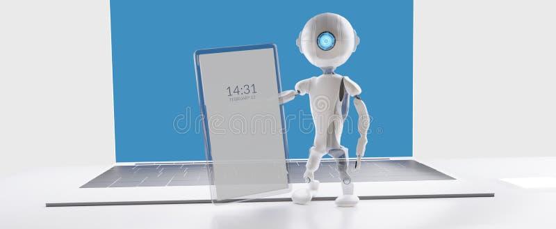 Transparent mobile phone robot A.I. 3d-illustration vector illustration